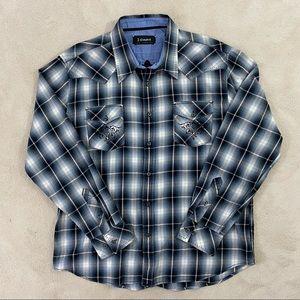 J Campbell Men Button Down Embroidered Shirt Sz XL